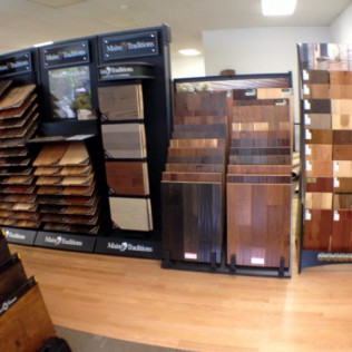 Flooring products displayed in flooring showroom in Northwood, NH